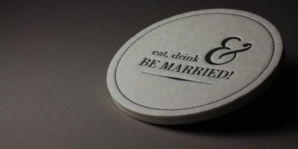 Page Stationery - Eat Drink and Be Married Letterpress Coaster