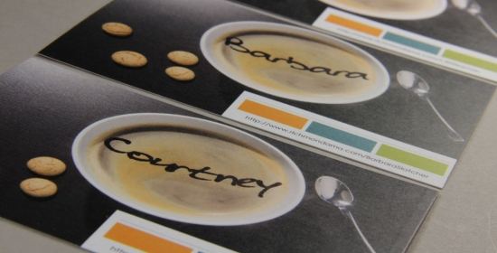 Coffee Cups with names in foam - Variable Data Printing