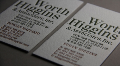 Worth Higgins and Associates Letterpress Business Cards