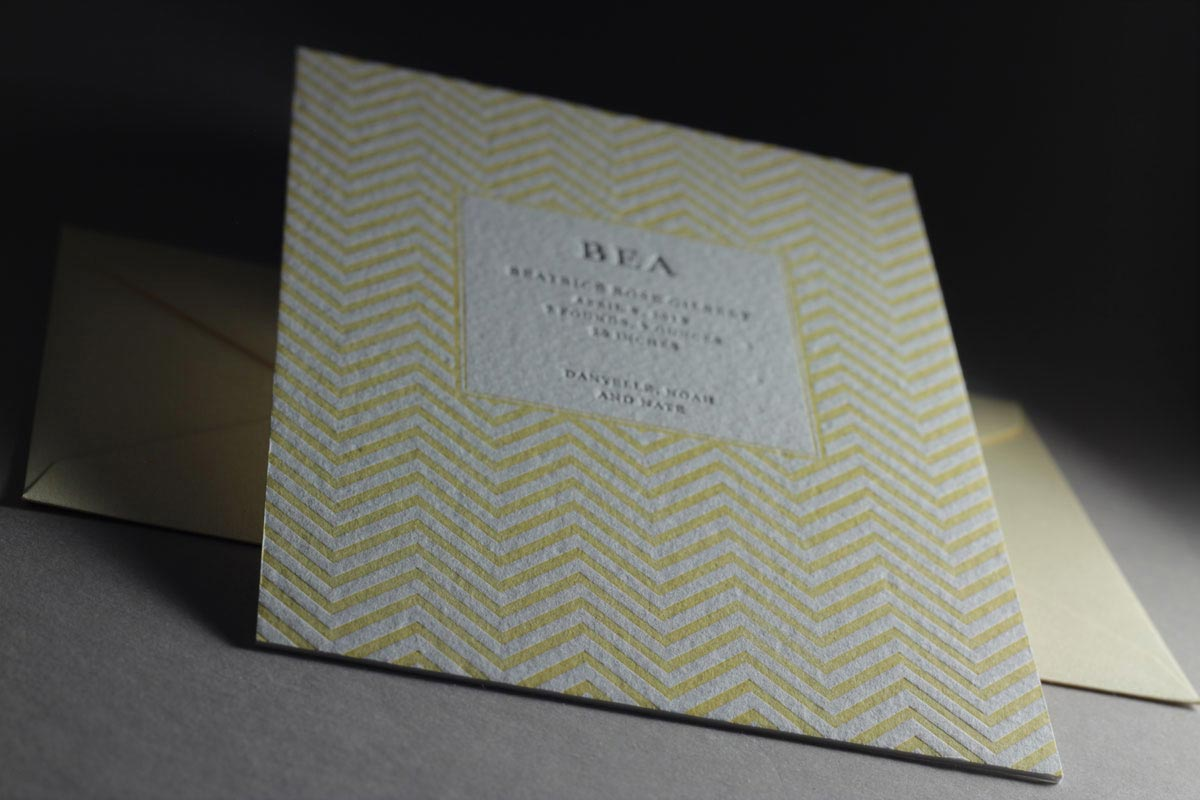 Page Stationery - Yellow Chevron Letterpress Baby Announcements