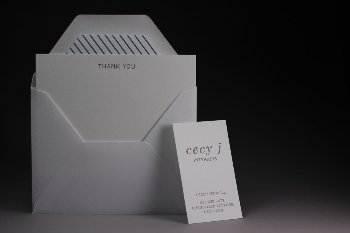 Page Stationery - Cecy J Interiors Letterpress Business Card and Thank You Card