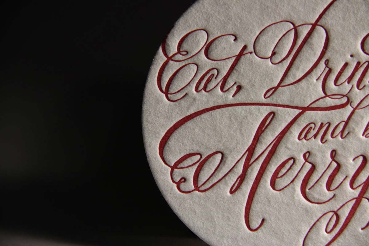 Page Stationery - Eat Drink and be merry letterpress holiday coasters