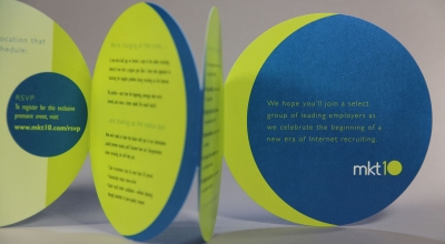 MKT10 - Trifold Invitation Die Cut into the shape of a circle