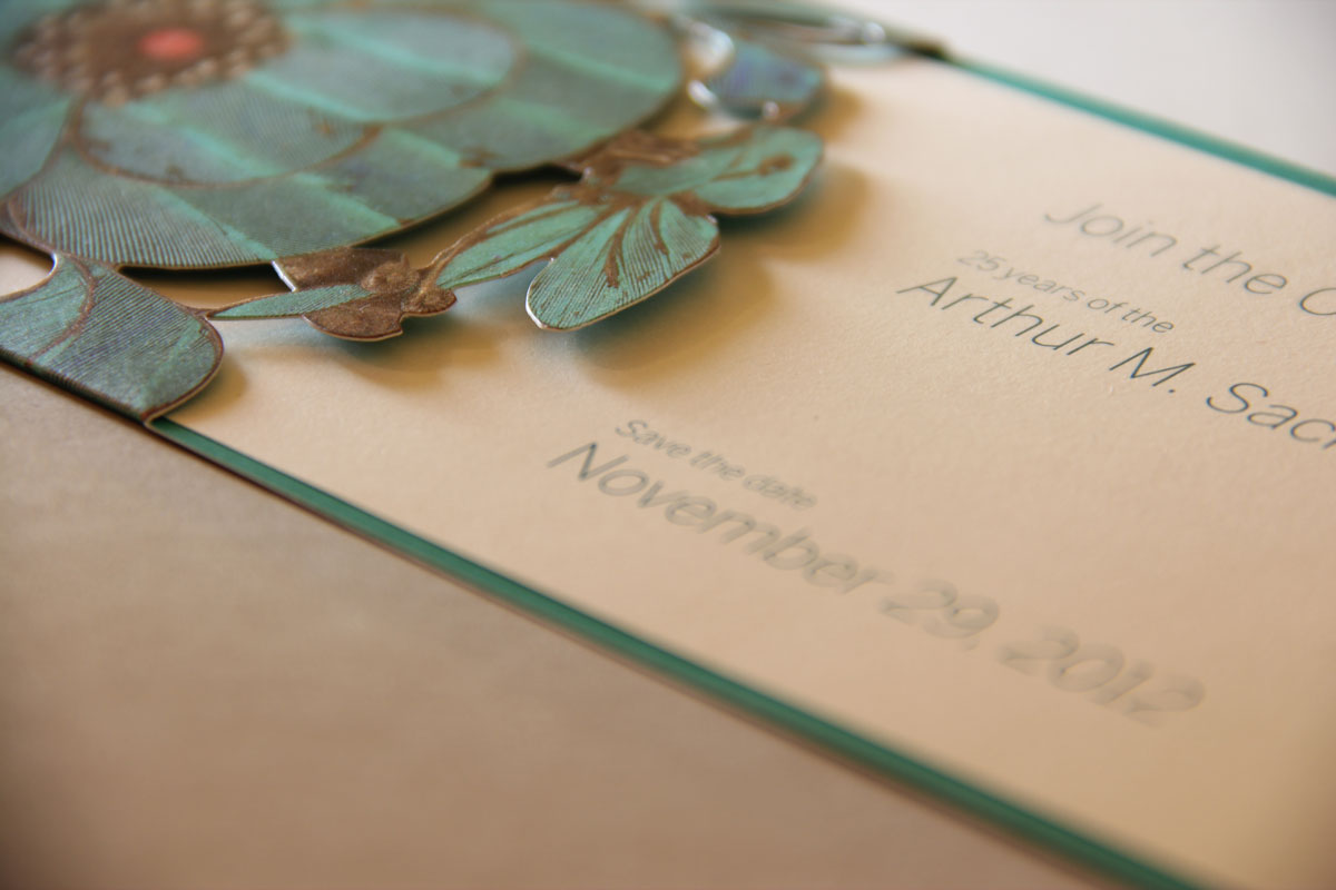 Smithsonian Sackler Invitation - UV Inks on a Metallic Sheet and Die Cut