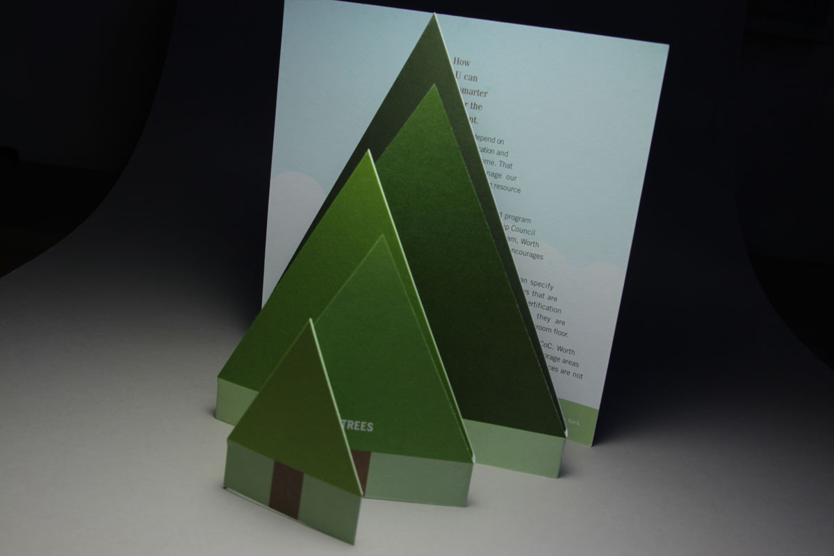 An accordion folded row of trees grows progressively larger in a brochure